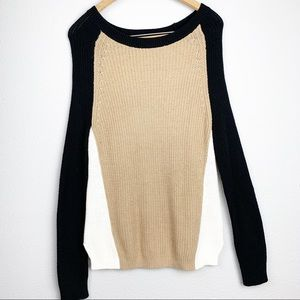 Express Color Block Cable Knit Sweater Large